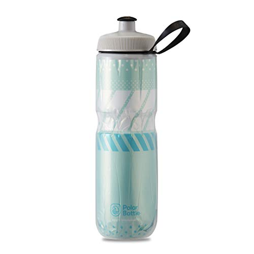 Polar Bottle Sport Insulated Water Bottle - BPA-Free, Sport & Bike Squeeze Bottle with Handle (Tempo - Mint & White, 24 oz)