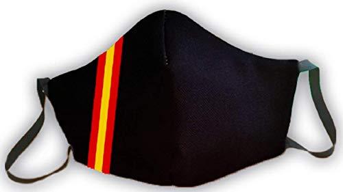 Mascarillas protectora negra bandera de España 3 capas