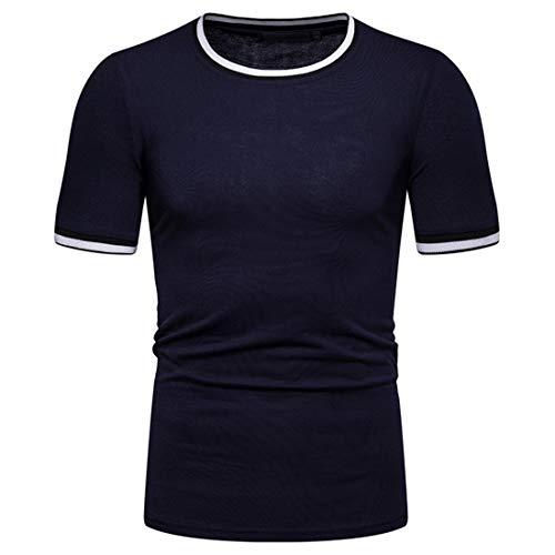 T-Shirt Hombres Botón Básico Tapeta Hombres Shirt Ocio Elástico Deporte Moderno Manga Corta Hombres Shirt Moda Aptitud Jogging Hombres Shirt Músculos L-Blue XXL