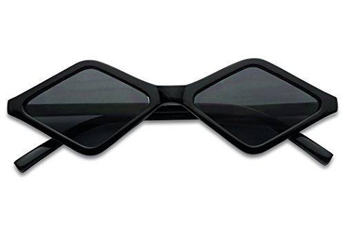 SunglassUP Sleek Summer Bright Vintage Diamond Shape Style Sunglasses (Black Frame   Black)