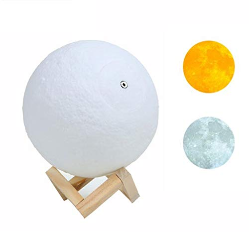 QFFL Moon lamp LED Moon Lamp 3D Moon Night Light 2 Color Warm Cool White Touch Contral Brightness USB Rechargeable for Home Bedroom Decoration (Color : 2 color, Size : 15cm)