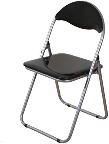 GZDD Dining Chair Portable Folding Chair Color Leisure Chair Backrest Meeting Computer Office Home Chair Office Chair (Color : Black)