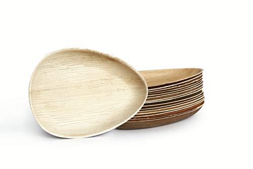 Plantvibes Platos de Hoja de Palma Naturales, Nobles y amigables para el Medio Ambiente, Platos de Madera Desechables e 100% compostables, Vajillas de Madera (25x15cm (25 Piezas) - Oval)