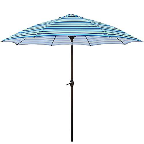 Sombrilla de jardín rectangular para exteriores de 8,6 pies con manivela, 38 mm de aluminio inclinable, sombrilla de jardín, sombrilla de patio y sombra para su redondo de 50 pulgadas