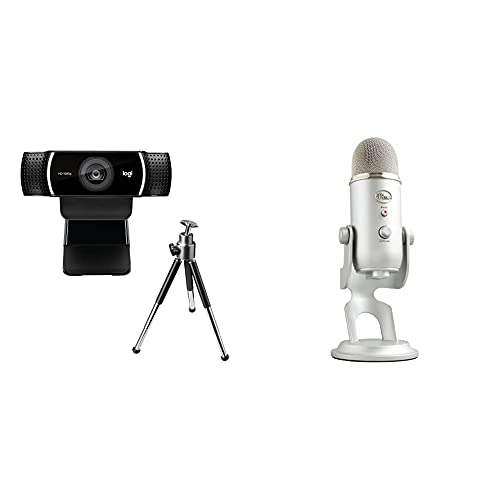 Logitech C922 Pro Stream Webcam, Full HD 1080p Streaming with Tripod (Black) + Blue Microphones Yeti USB Microphone for PC and Mac(Silver)