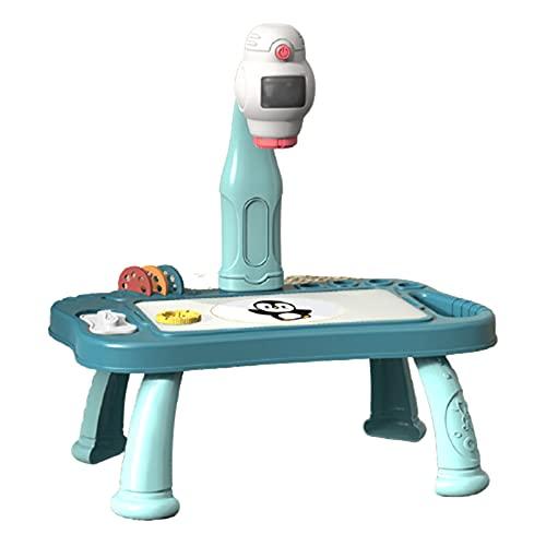 Dingyue Escritorio de dibujo para niños con proyector juguete educativo con 48 copia patrón desmontable proyección pintura mesa para niño