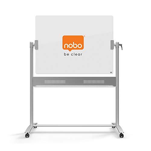 Nobo Diamond - Pizarra móvil vidrio, de doble cara, superficie con facilidad de borrado extrema, tamaño 1200 x 900 mm, color blanco