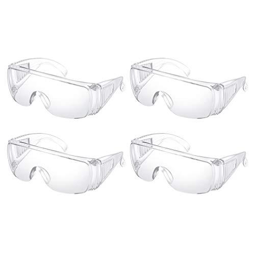 HEALLILY 4-Teilige Schutzbrille Brille Persönliche Schutzausrüstung Klare Beschlagfreie Spritzwassergeschützte Schlagfestigkeit für Arbeiten im Freien