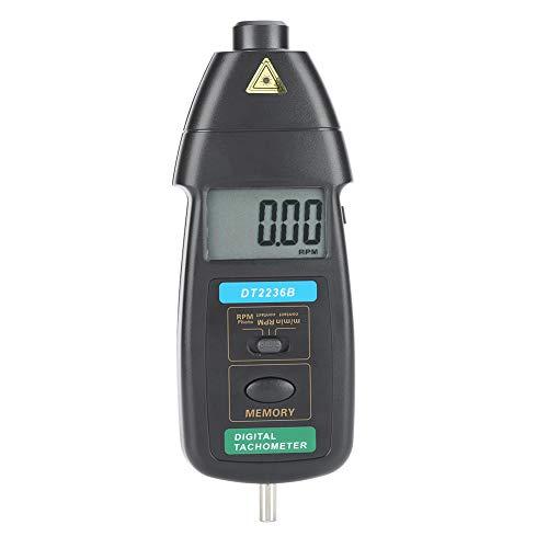 Socobeta Probador de rotación, medidor profesional de retención de datos Tach foto/contacto tacómetro de mano con tacómetro para medición de datos