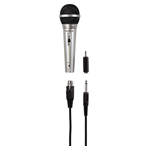 Thomson Mikrofon für Karaoke (Karaoke Mikrofon mit 3 m Kabel + XLR Kupplung, 3,5 mm Klinke für HiFi Anlage, dynamisches Mikrofon mit Niere, Gesangsmikrofon mit Adapter 6,3 mm für Mischpult) silber