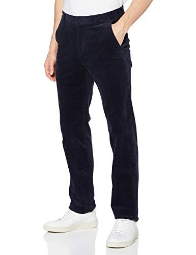 Brooks Brothers Pantalone Sportivo in Velluto Costa Larga Stretch Blu Regular Fit, 44 34 Uomo