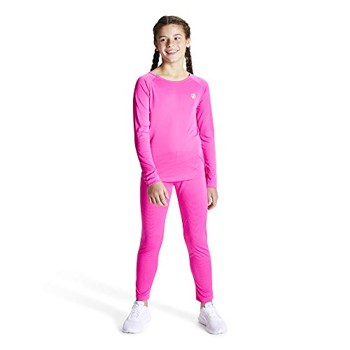 Dare 2b Kinder Elate Lightweight Fast Wicking Quick Drying Performance Ski and Snowboard Active Outdoor Base Layer Set with Anti-Bacterial Odour Control Treatment Baselayer, Pink (Cyber Pink), 11-12