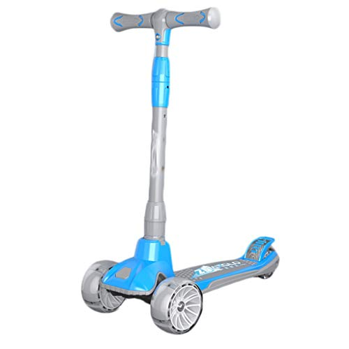 Scooter Crystal Wheel Kick Scooters para niños de 3 a 14 años - Tablero de Repuesto de Ancho de la Scooter Plegable, y Altura Ajustable LED Light RUEDES DE LUZ Patinetes (Color : Blue)
