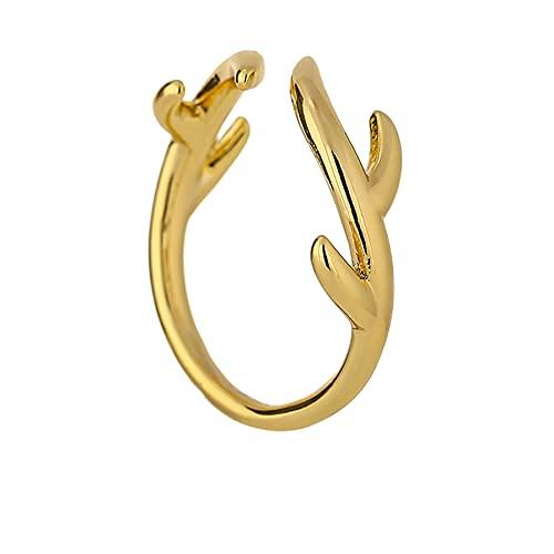 Anillo minimalista de apertura de hojas, joyería de cobre para mujer, anillo elegante de dedo simple chapado en oro de 14 K