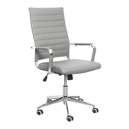 eclife Ergonomischer Bürostuhl, Chefsessel Schreibtischstuhl drehstuhl mit Höhenverstellbare Armlehne, hoher Rückenlehne, Neigungsfunktion, Lordosenstütze, Chrome-Rädern (Grau)