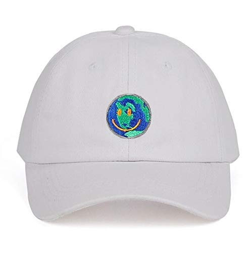 Gorras de béisbol de algodón Unisex Gorro de papá Gorra Hombre Mujer Sombrero de Verano-Smiley Face White