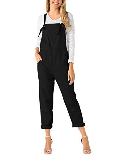 YOINS Latzhose Damen Herbst Winter Jumpsuit Overall Ärmellos mit Eingrifftaschen Schwarz-neu XL