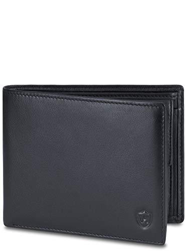 VON HEESEN® Leder Geldbörse Herren mit RFID Schutz I Echtleder Geldbeutel für Männer I Portemonnaie Brieftasche Wallet Portmonee (Schwarz)