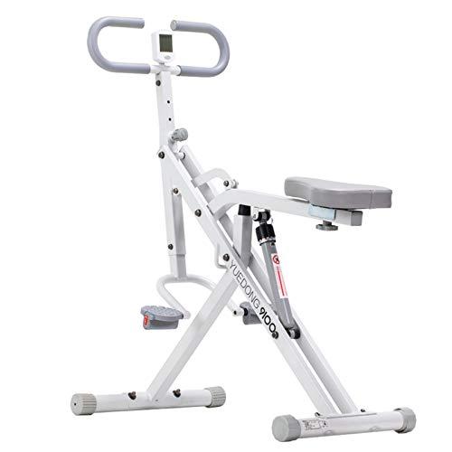 Bicicleta estática plegable Bicicleta estacionaria con Resistencia Magnética, Monitor de pulso y Asiento cómodo Pulso de asiento ajustable para ejercicio de oficina casa-Blanco 100*52*122cm