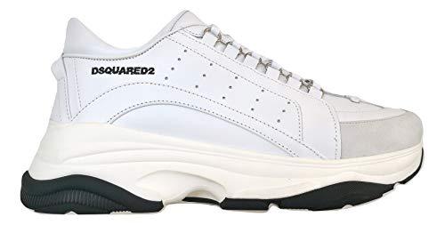 dsquared Herren Sneakers Leder Bumpy 551 Low Top SNM0047 06500001 M1216, Weiß - Bianco - Größe: 43.5 EU