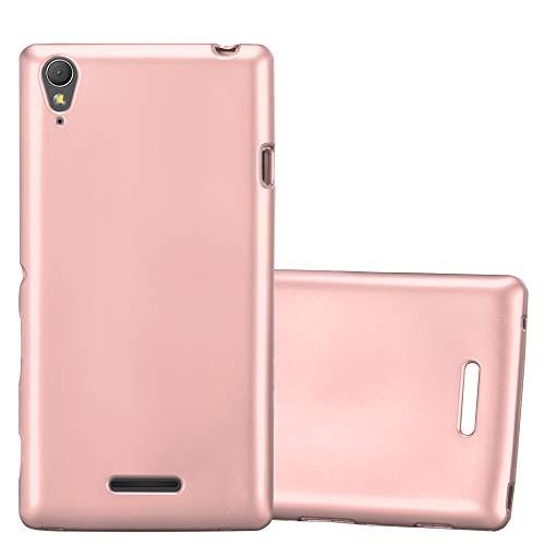 Cadorabo Funda para Sony Xperia T3 en Metallic Oro Rosa – Cubierta Proteccíon de Silicona TPU Delgada e Flexible con Antichoque – Gel Case Cover Carcasa Ligera