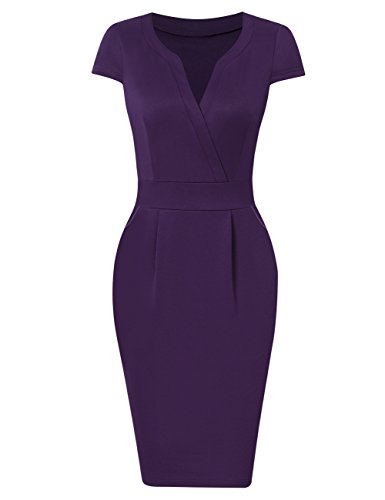 KOJOOIN Damen Elegant Etuikleider Knielang Kurzarm Business Kleider Blau Dunkelblau XL