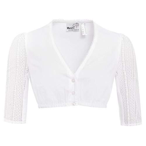 MarJo Trachten Damen Trachten-Mode Dirndlbluse Bärbel-Vida in Weiß traditionell, Größe:34, Farbe:Weiß