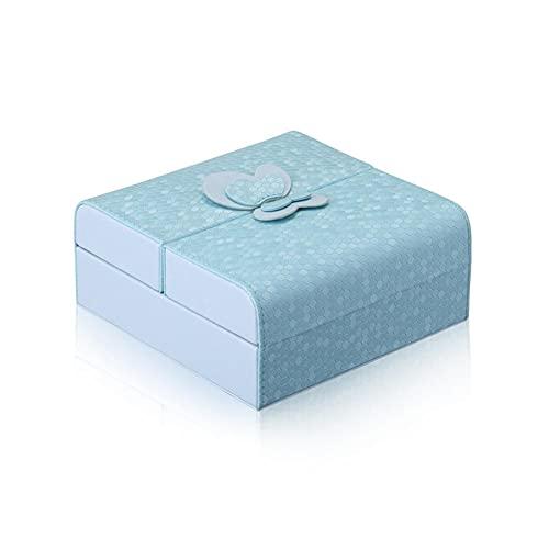 NFRADFM Caja de joyería,Caja de embalaje de joyería,Pendientes Collar Joyería,Caja de joyería portátil,Caja de joyería de cuero PU