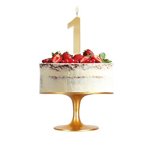Velas grande 15,5 cm para tarta de cumpleaños número 1 color oro metalizado - ideal para fiestas de cumpleaños, aniversarios, baby shower, fiestas, celebraciones, bodas de oro o plata - 1 unidad