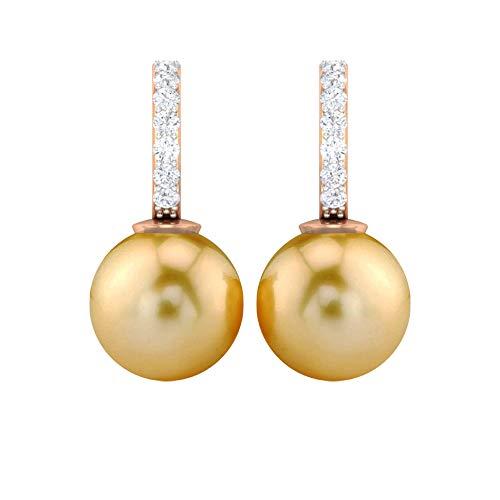 Pendientes únicos de boda, 9 ct 8 mm, pendientes de perlas del mar del sur, pendientes de diamantes HI-SI, regalo de aniversario para ella, pendientes de fiesta, 18K Oro rosa, Par