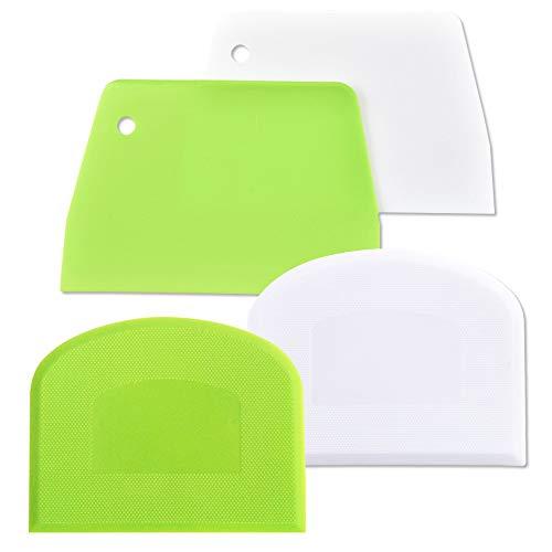 AIFUDA - Raspador de masa, plástico apto para alimentos, 4 piezas, rascador...