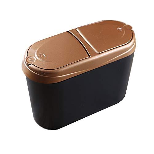 YJingMM Botes De Basura para Coche con Tapa Posavasos para Coche Bote De Basura Multiusos para Coche Oficina Y Hogar Gold,One Size