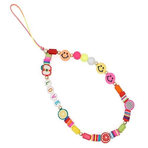 HHKX100822 Beaded Phone Charm, Smiley Face Beaded Phone Charm Strap, Fruit Smile Rainbow Color Phone Lanyard Wrist Strap, Cute Fashion Phone Chain Charm Accessories For Women Girls 1PCS