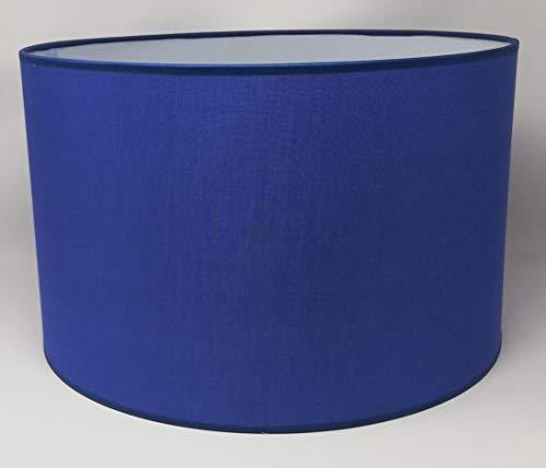Zylinder Lampenschirm Baumwolle Stoff handgefertigt für Deckenleuchte, Tischleuchte, Stehlampe (Blau, 25 cm Durchmesser 20 cm Höhe)