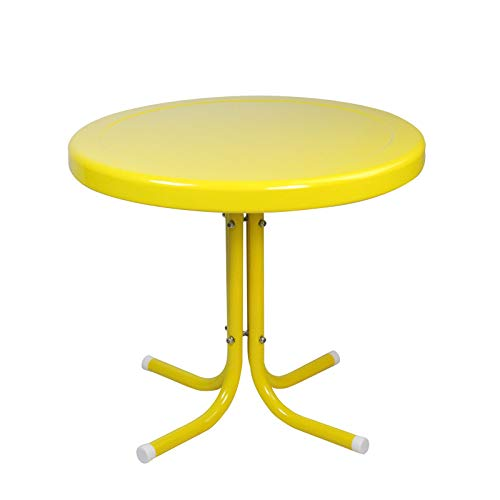 21.75-Inch Yellow Outdoor Retro Metal Tulip Side Table
