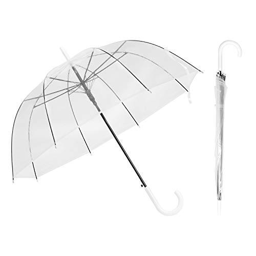 R.HORSE Regenschirm, Schwarz, Weiß, J-Griff, automatisch, offen, groß, transparent, Winddicht, wasserdicht, für Herren und Damen, Hochzeit, Zeremonie, 2 Stück, weißer Griff