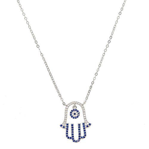 YHHZW Collar 925 Plata Esterlina Mujeres Boda Joyería Regalo Azul Blanco Suerte Mano Fátima Palma Turco Mal De Ojo Colgante Collares 45 Cm
