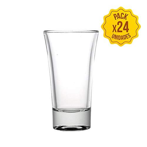 vasos cristal chupitos vasos de chupito originales para whisky, vodka, tequila set juego de vaso chupito de 60 ml de whiskey bebidas alcoholicas vidrio endurecido baratos shot glasses (24 unidades)