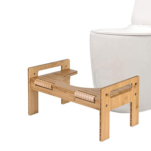 Samoii Adjustable Bamboo Toilet Stool | Convenient and Compact – Great for Travel | Fits All Toilets for Easy Storage, Use in Any Bathroom Portable Bathroom Squatting (USA)