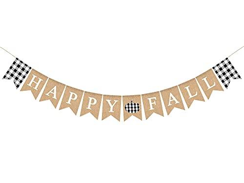 Whaline Banner de arpillera de Happy Fall rústico blanco negro búfalo a cuadros calabaza banderines guirnalda de granja otoño decoración suministros para otoño cosecha manto chimenea hogar fiesta