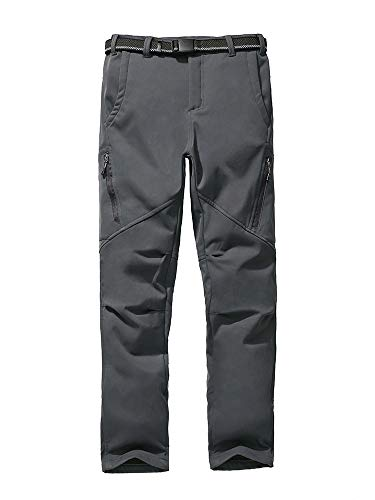 Kids Boys Girls Waterproof Hiking Pants Outdoor Windproof Fleece Lined Snow Insulated Shell Pants Warm Trousers, Grey S(US 8)