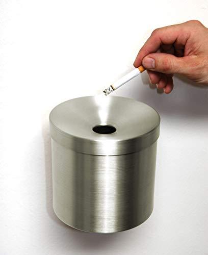 Wandaschenbecher Ø 145mm x H: 150 mm, Volumen: 1ltr. Edelstahl, Marke: Szagato, Made in Germany (Ascher, Wand-Aschenbecher klappbar, Kipp-Ascher)
