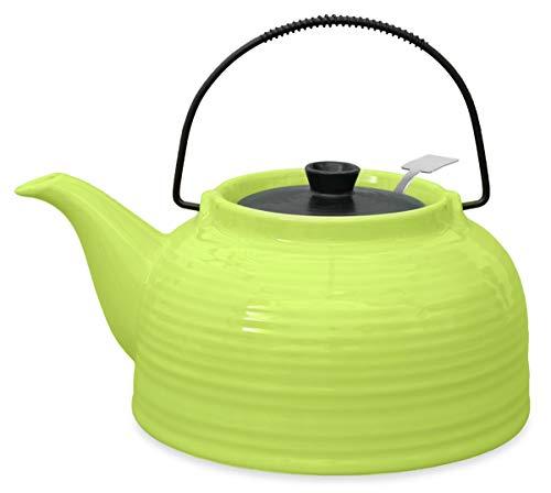 Teekanne/Kanne Nelly 1,5l grün/schwarz mit Stahlsieb (Kanne grün, Deckel schwarz)