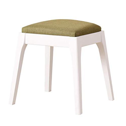 JYJD Hocker für Wohn- und Gartenmöbel, Eichenholz, gepolstert, mit Leinen, bequemes Kissen, für Wohnzimmer/Schlafzimmer, Weiß