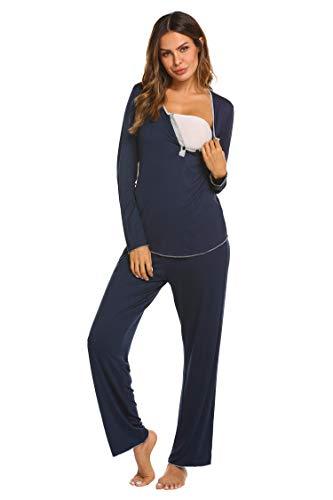 MAXMODA Ensemble de Pyjama spécial Grossesse Femme Manches Longues Maternité Pyjamas Chemise Nuit/Peignoir/Pyjamas Grossesse Allaitement Bleu
