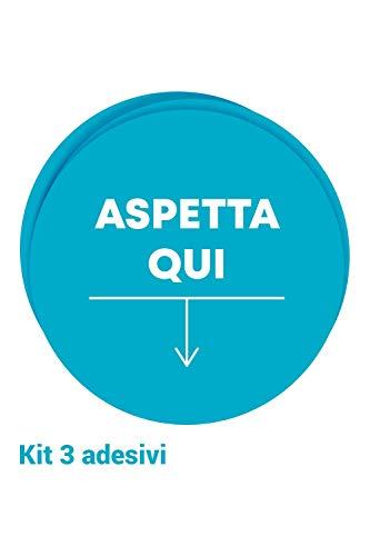 Kit 3 adesivi per pavimento per la sicurezza - Adesivi ASPETTA QUI per la segnaletica da terra | Certificazione antiscivolo R10 (Bollone con Freccia Azzurra 40x40cm)