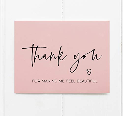 Wedding Card for Make Up Artist Hair Stylist, Thank You For Making Me Feel Beautiful, Gift From Bride, Blush Pink