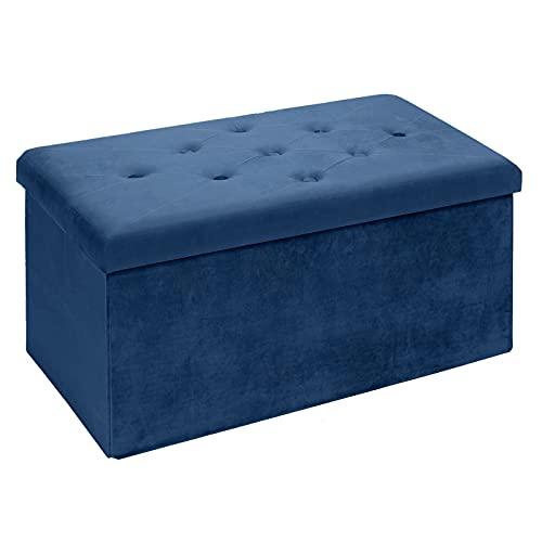 BRIAN & DANY Pouf Contenitore Velluto, Cassapanca Contenitore Cubo Poggiapiedi Sgabello, 76 x 38 x 38 cm, Blu