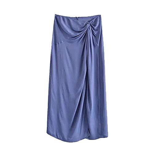 N\P Moda elegante para mujer con nudo suave al tacto Midi falda vintage cintura alta espalda