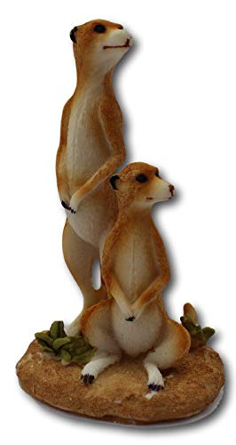 Very Cute Ceramic Standing Pair of Cheeky Meerkats Ornament